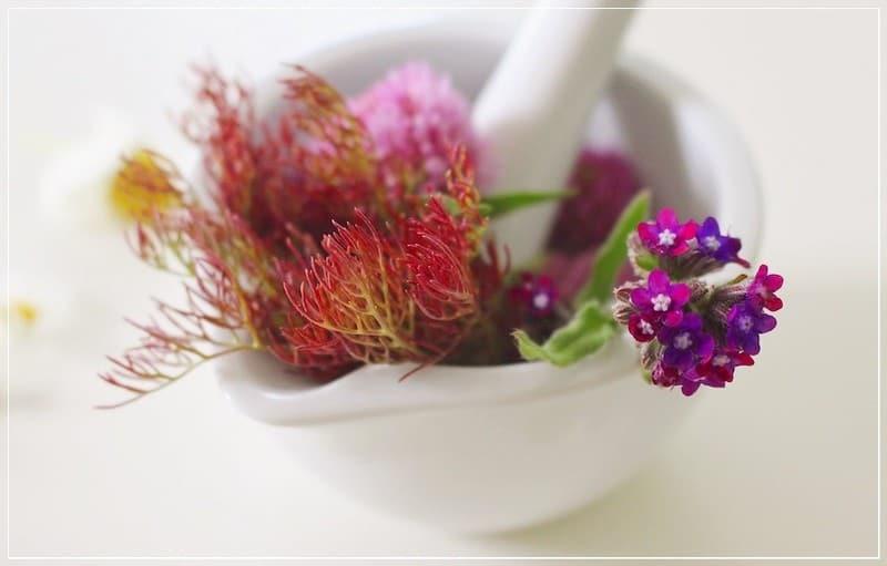 цветы в ступке для приготовления мази