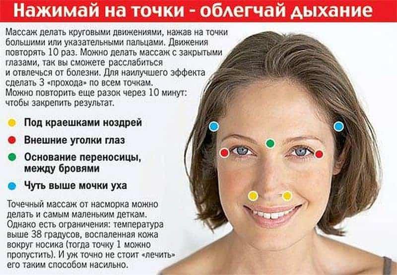 лечим насморк массажем точек