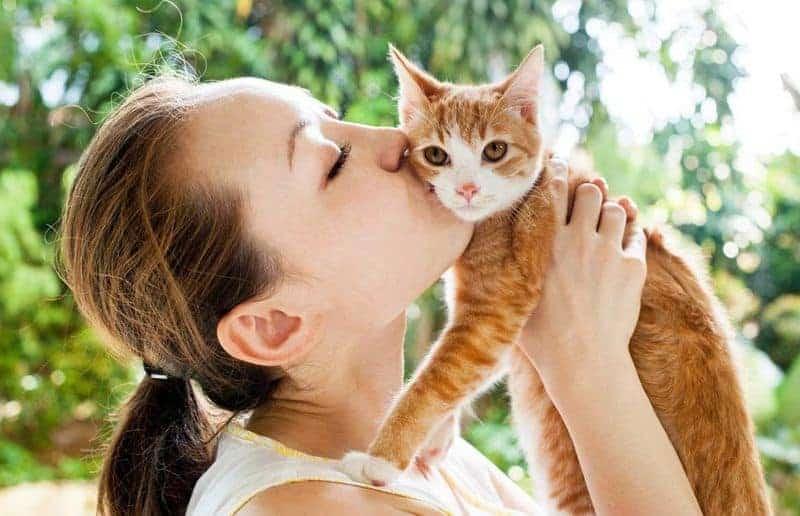 девушка целует котенка