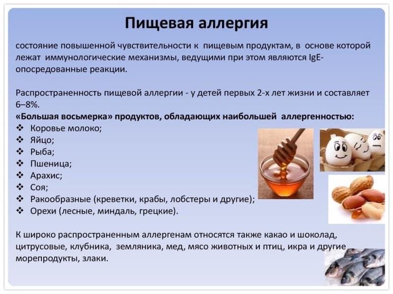 список продуктов аллергенов
